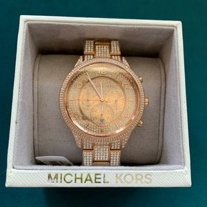 Micheal kors bling / iced out rose gold watch